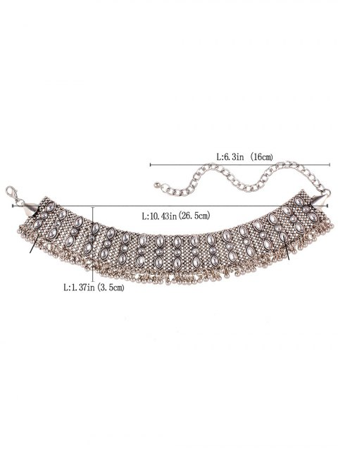 women's Faux Gem Fringe Chokers Necklace - SILVER  Mobile