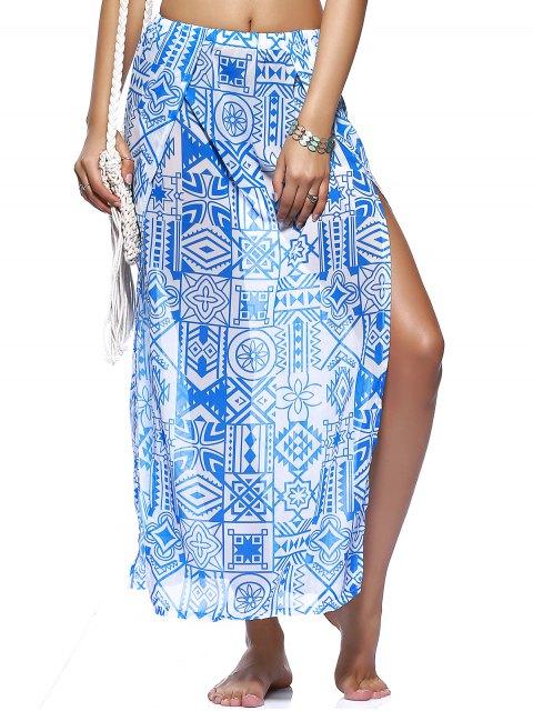 outfit Chiffon Flowy Slit Skirt - BLUE L Mobile