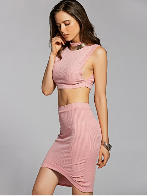 hot Fitted Crop Top and Skirt - PINK L Mobile