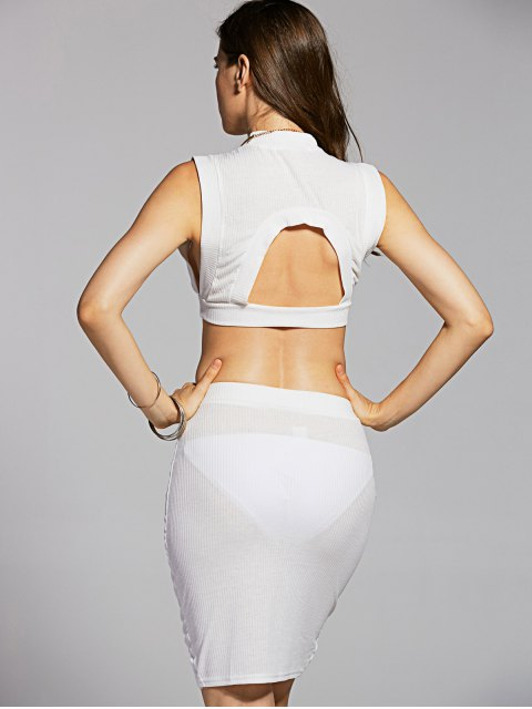 shops Fitted Crop Top and Skirt - WHITE L Mobile
