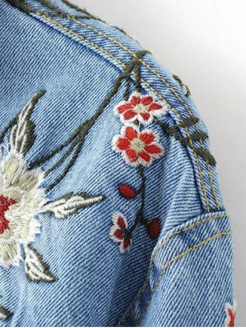 fashion Embroidered Denim Jacket - BLUE L Mobile