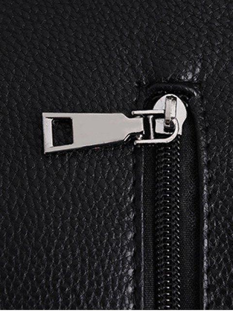trendy Metallic Solid Color Shoulder Bag - BLACK  Mobile
