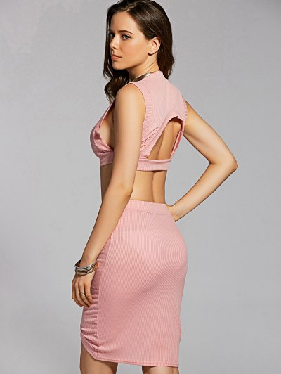 Fitted Crop Top and Skirt - PINK L Mobile