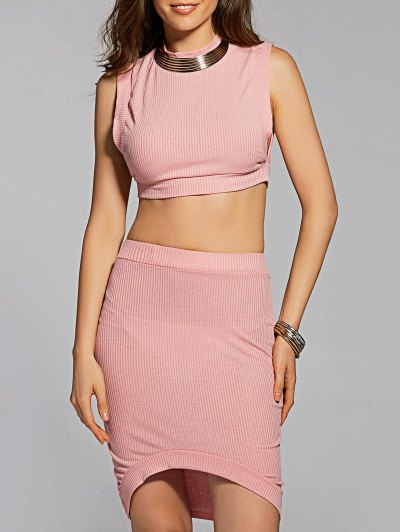 Fitted Crop Top and Skirt - PINK M Mobile