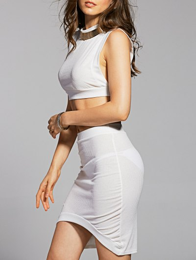 Fitted Crop Top and Skirt - WHITE L Mobile