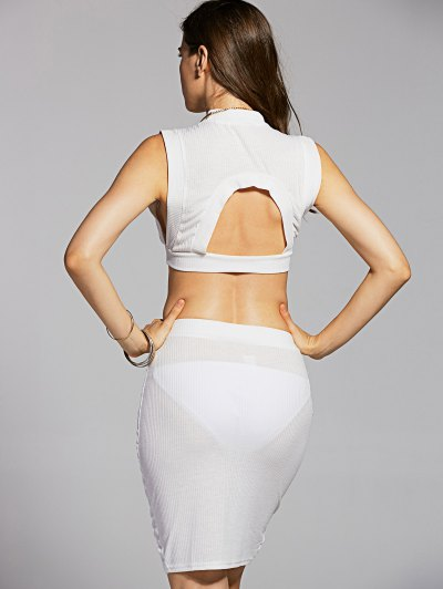 Fitted Crop Top and Skirt - WHITE M Mobile