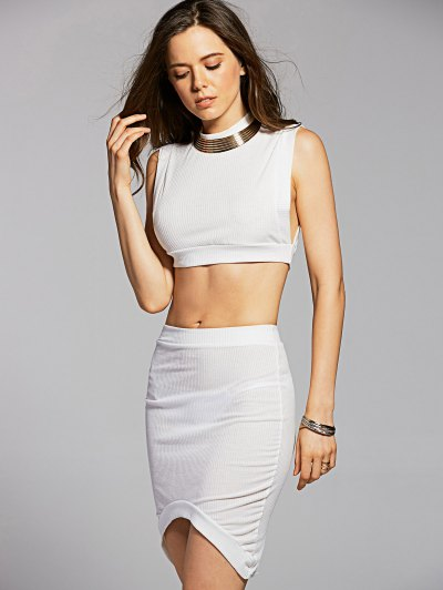 Fitted Crop Top and Skirt - WHITE S Mobile