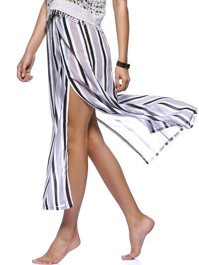 Striped Flowy Slit Dress - COLORMIX XL Mobile