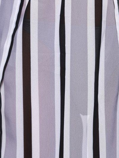 Striped Flowy Slit Dress - COLORMIX M Mobile