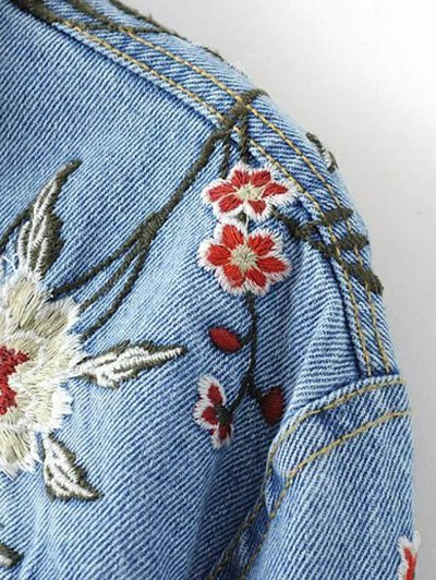 Embroidered Denim Jacket - BLUE L Mobile