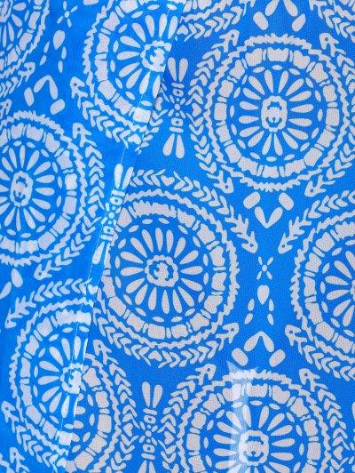 Double Slit Flowy Bohemian Skirt - BLUE L Mobile