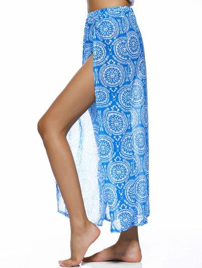 Double Slit Flowy Bohemian Skirt - BLUE M Mobile