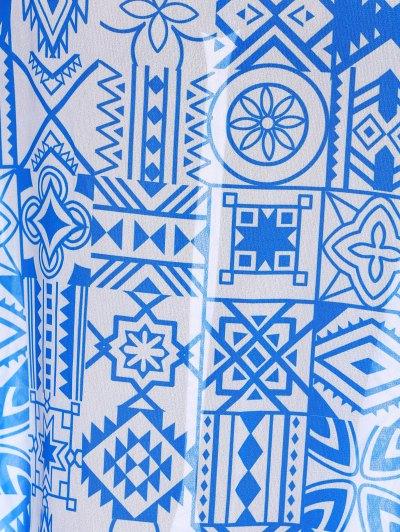 Chiffon Flowy Slit Skirt - BLUE L Mobile
