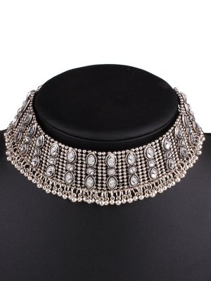 Faux Gem Fringe Chokers Necklace - Silver