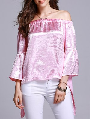 Off The Shoulder Solid Color T-Shirt - Pink