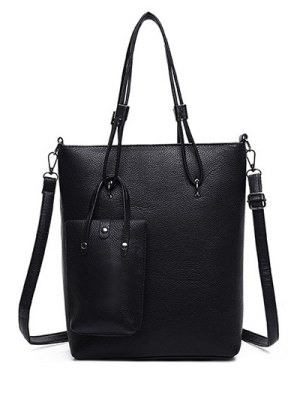 Metallic Solid Color Shoulder Bag - Black
