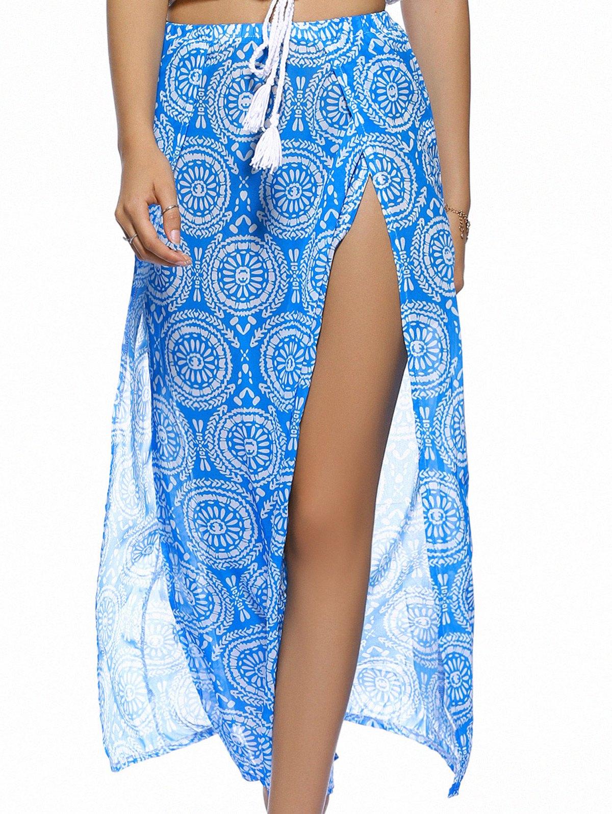 Double Slit Round Print Long Skirt