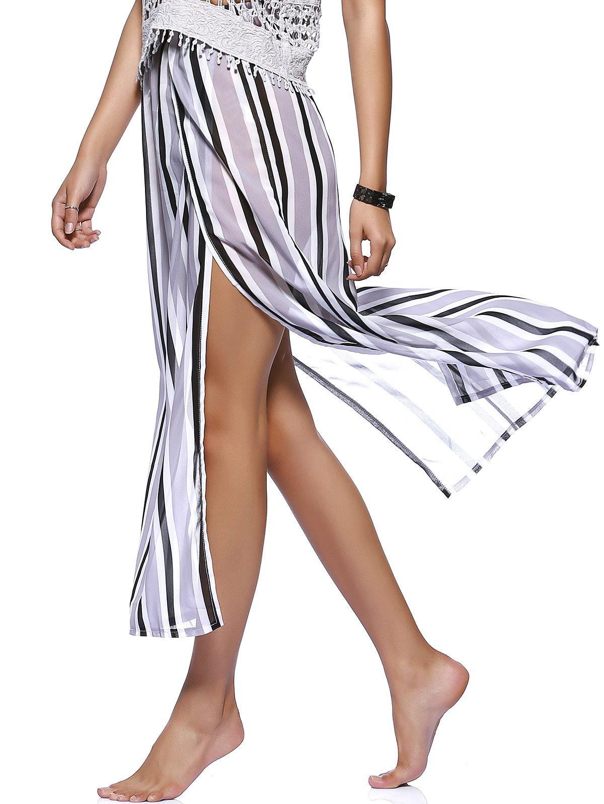 High Split Striped Flowy Skirt