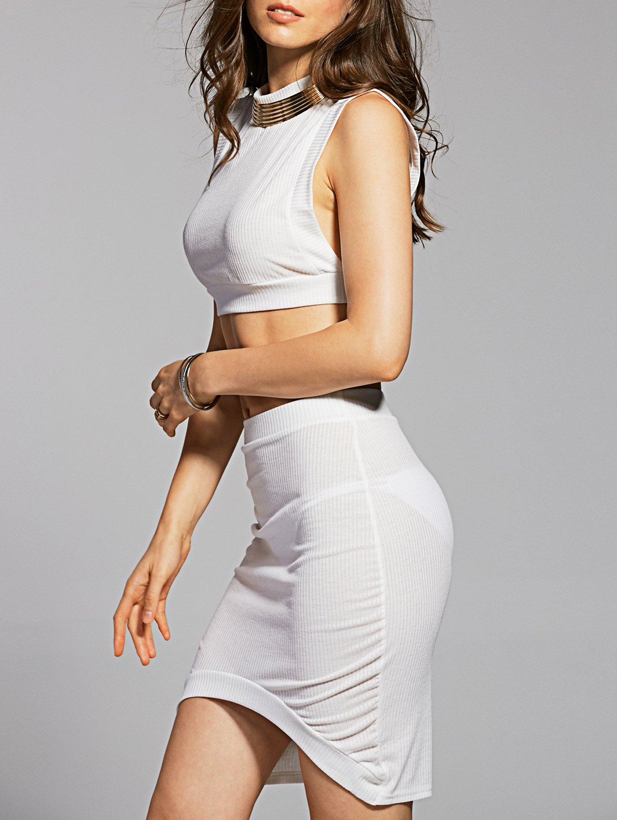 Stand Neck Crop Top and Pencil Skirt
