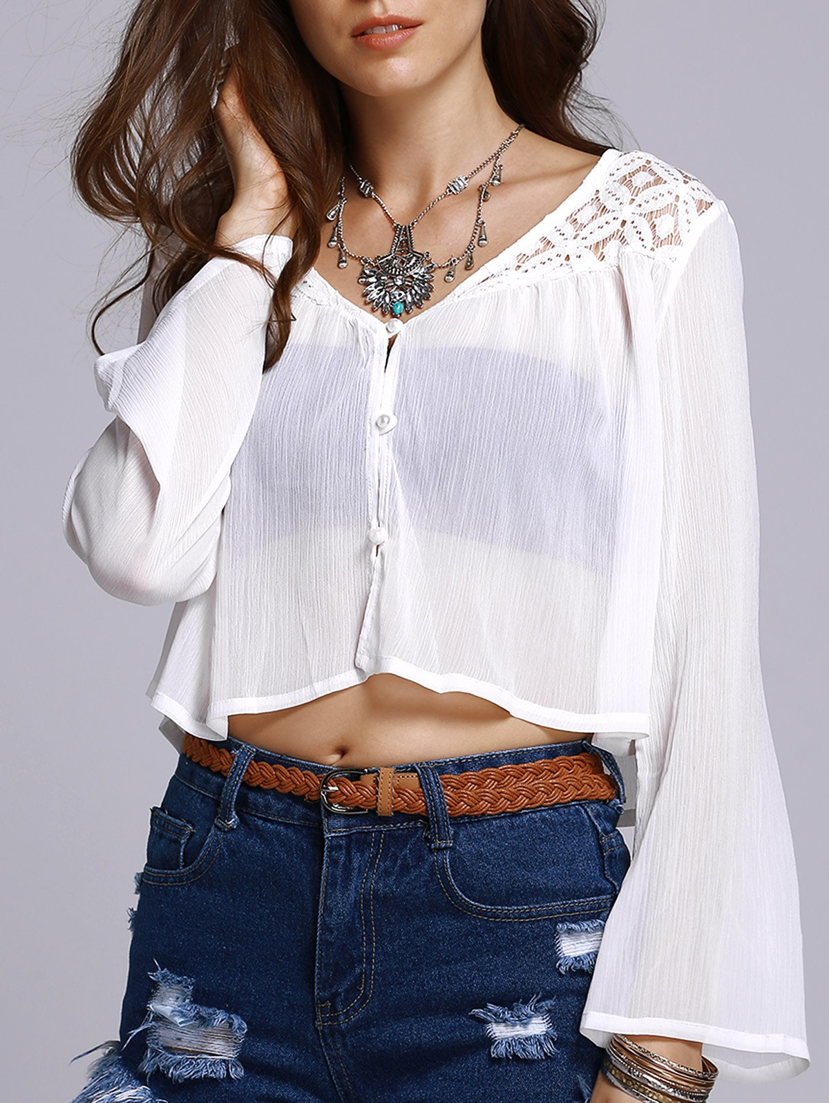 Button Front Lace Chiffon Top