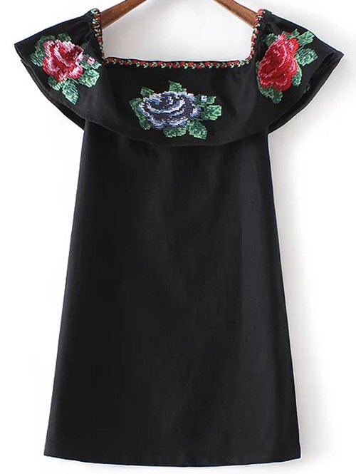 Rochie mini, cu flori brodate, mâneci scurte și umerii goi