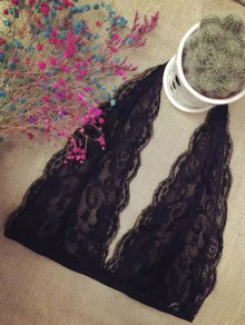 Lace Plunging Neck Bra Top