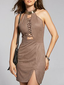 Suede Mini Semi Formal Dress