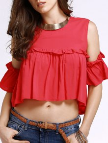 Buy Frilled Pure Color Top M RED