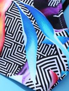 Criss Back Printed Bikini Set - COLORMIX M