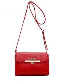 Buy Metal Letter Solid Color Crossbody Bag - RED