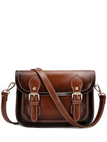Double Buckles Stitching PU Leather Crossbody Bag - Brown