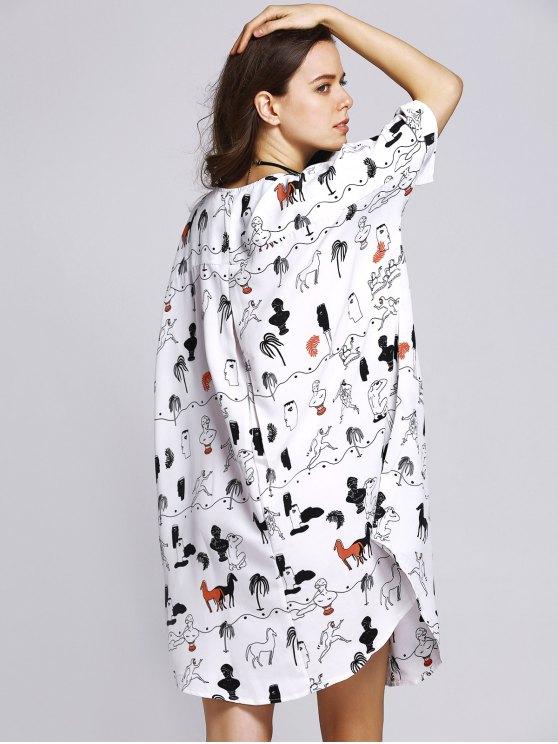 Horse Print Round Neck Half Sleeve Dress - COLORMIX M Mobile