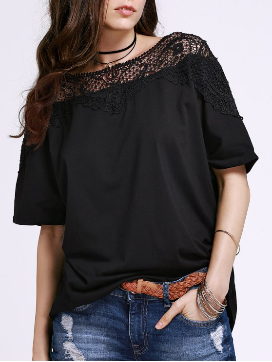 new Cut Out Lace Spliced Round Neck Short Sleeve T-Shirt - BLACK 3XL