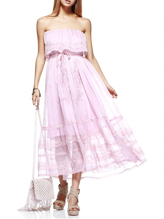 women's Embroidery Strapless Prom Dress - LIGHT PINK S