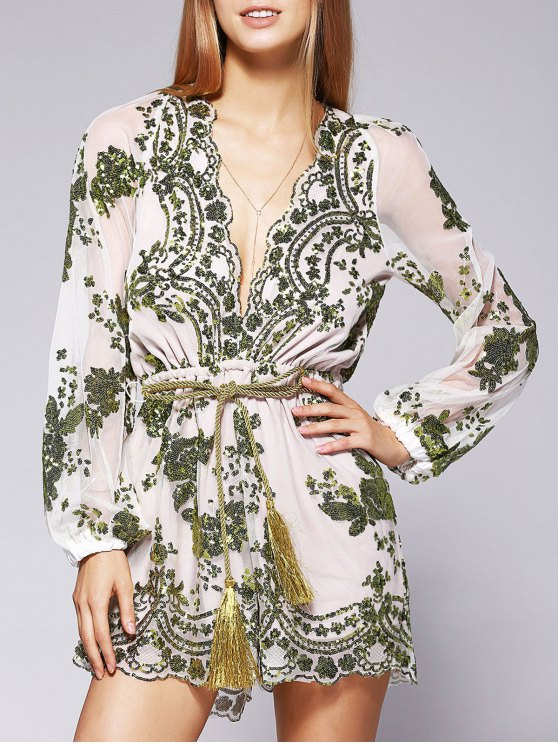 fashion Voile Sequins Plunging Neck See-Through Romper - GREEN M