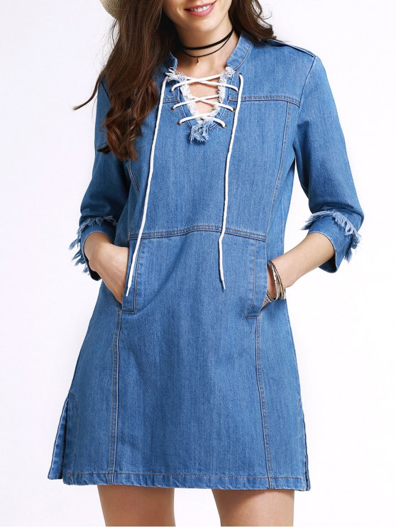 Retro Lace-Up Stand Neck 3/4 Sleeve Dress - BLUE S Mobile
