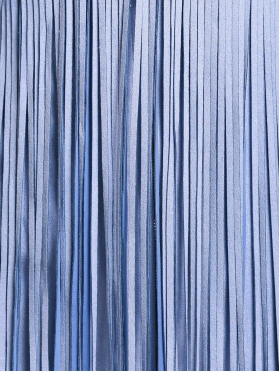 Blue Tassels Plunging Neck Sleeveless Dress - BLUE S Mobile
