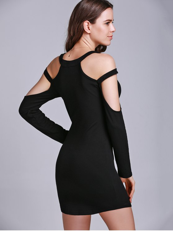Black Hollow Round Collar Long Sleeve Dress - BLACK XL Mobile