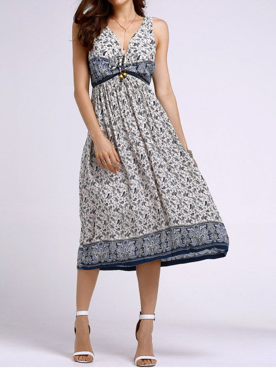 womens Bohemian Printed Round Neck Sleeveless Dress - LIGHT BLUE XL