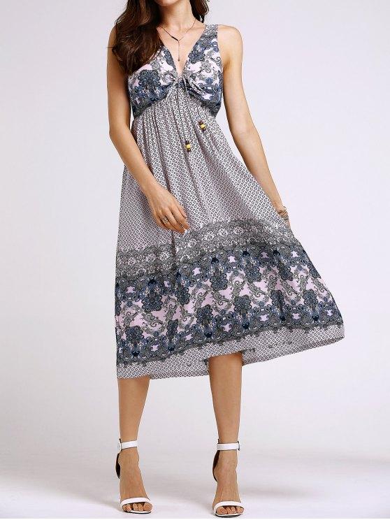 new Bohemian Printed Beach Round Neck Sleeveless Dress - SHALLOW PINK S