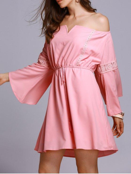 Rosa del hombro 3/4 Una línea vestido - Rosa L