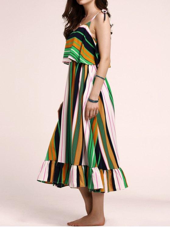Tie-Shoulder Multicolored Overlay Sundress - COLORMIX S Mobile