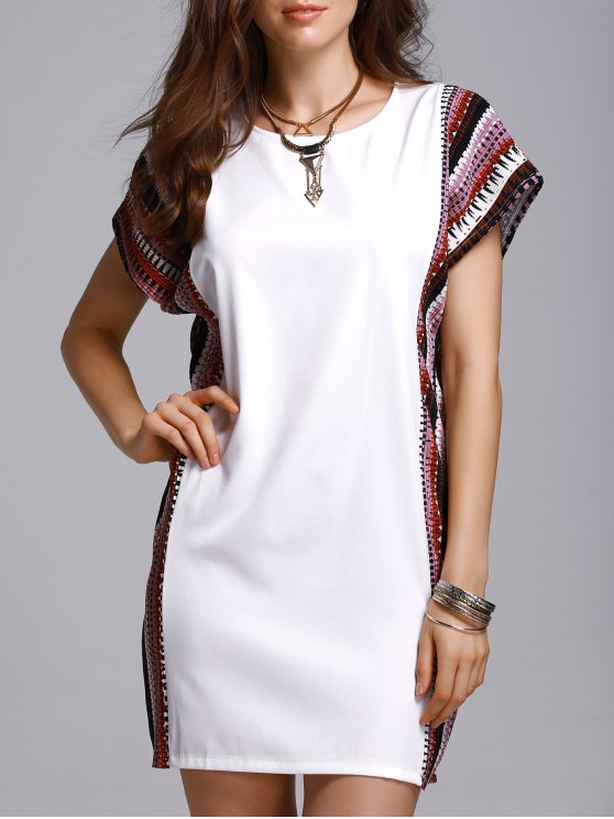 womens Printed Loose Round Neck Bat-Wing Sleeve Dress - WHITE 3XL