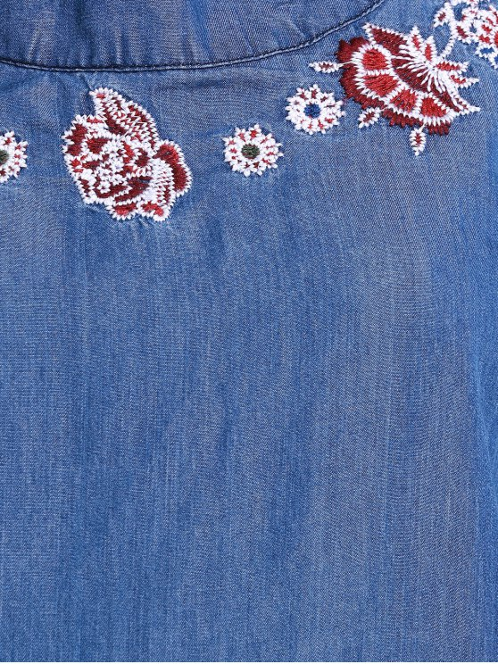 Embroidery Denim Dress with Pocket - ICE BLUE M Mobile