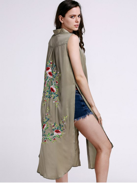 High Slit Sleeveless Floral Embroidery Shirt Dress - PEA GREEN S Mobile