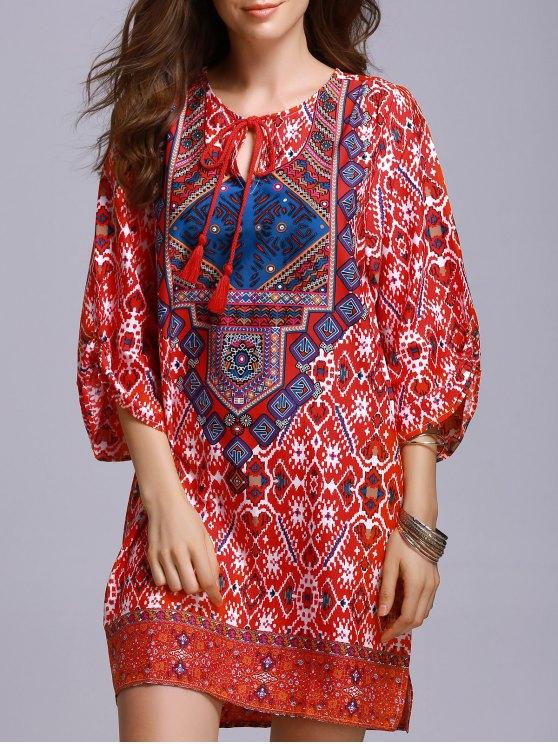 ladies Red Peasant Dress - RED S