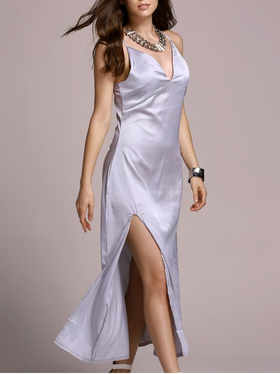 fashion High Slit Spaghetti Straps Solid Color Dress - SILVER WHITE XL
