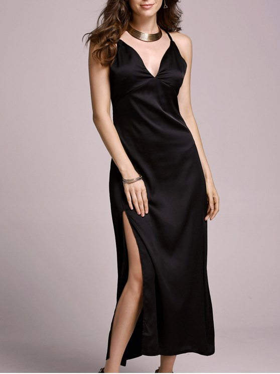 shops High Slit Spaghetti Straps Solid Color Dress - BLACK L