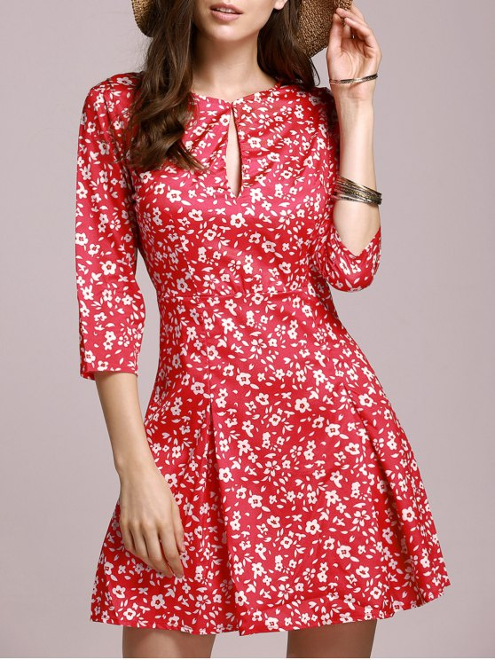 Tiny Floral Keyhole Neckline Dress - RED S Mobile