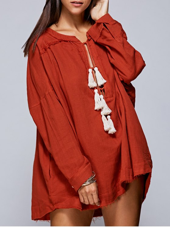 online Solid Color Round Neck Long Sleeve Tassels Blouse - JACINTH S